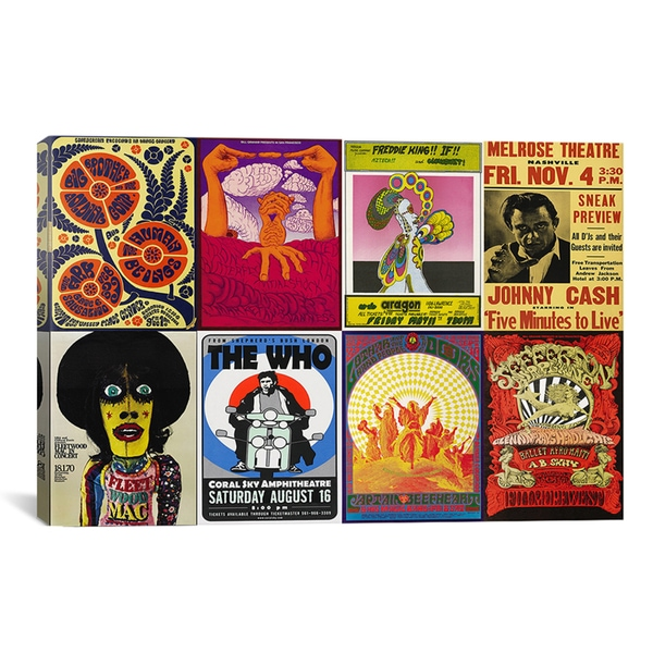iCanvas 'Johnny Cash, The Who, Fleetwood Mac, The Doors, Jefferson Airplane Concert Poster' Canvas A