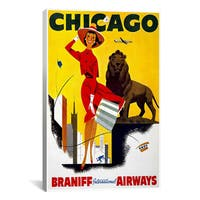 iCanvas 'Chicago Braniff Airways Advertising Vintage Poster' Canvas Art Print