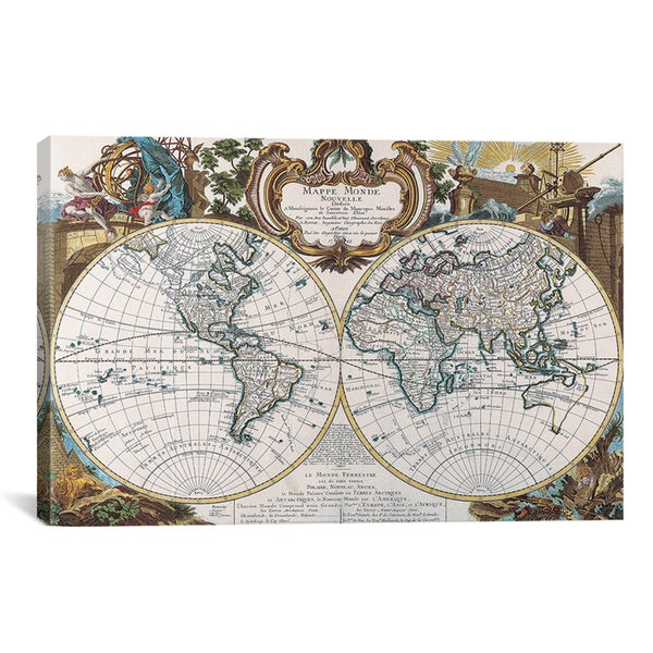 icanvas antique double hemisphere map of the world