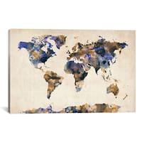 iCanvas Michael Thompsett 'Urban Watercolor World Map V' Canvas Art Print