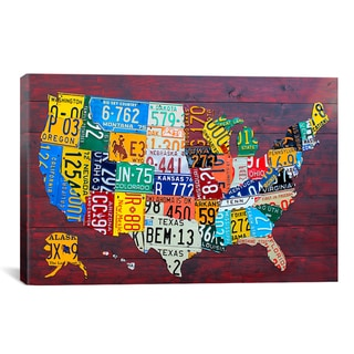 iCanvas David Bowman 'License Plate Map USA' Canvas Art