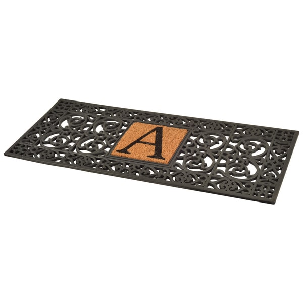 black rubber monogrammed doormat 1u00275 x - Rubber Door Mat