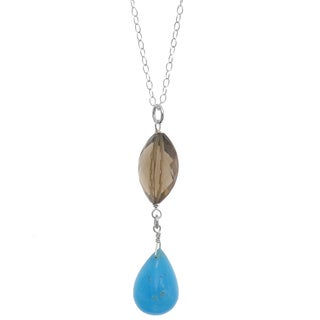 Ashanti Sterling Silver Hemimorphite Briolette and Smokey Quartz Necklace (Sri Lanka)