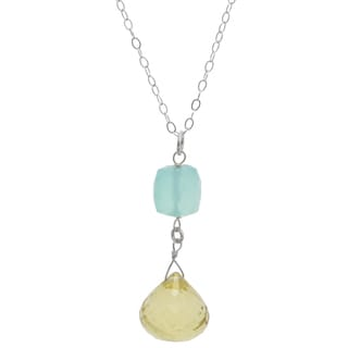 Ashanti Sterling Tangy Lemon Quartz Briolette and Aqua Chalcedony Necklace (Sri Lanka)