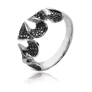 De Buman Sterling Silver Black Diamond Ring