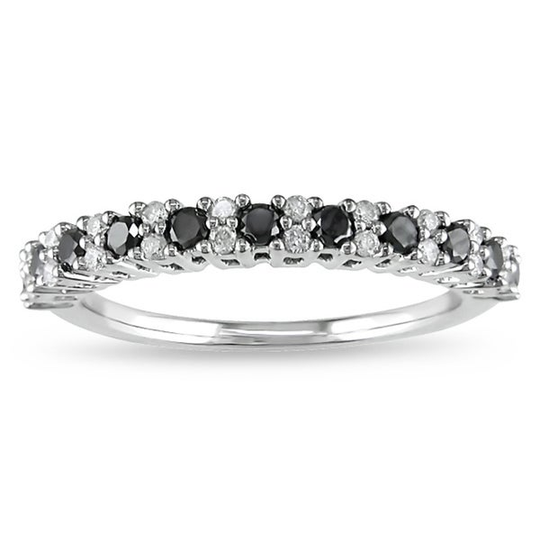 Miadora 10k Gold 1/2ct TDW Black and White Diamond Eternity Ring (H-I, I2-I3)