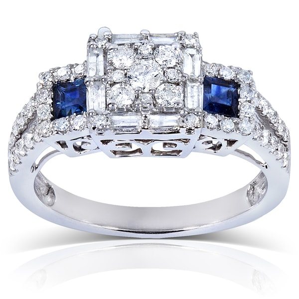 Annello by Kobelli 14k White Gold Blue Sapphire and 3/4 ct TDW Ladies Diamond Engagement Ring