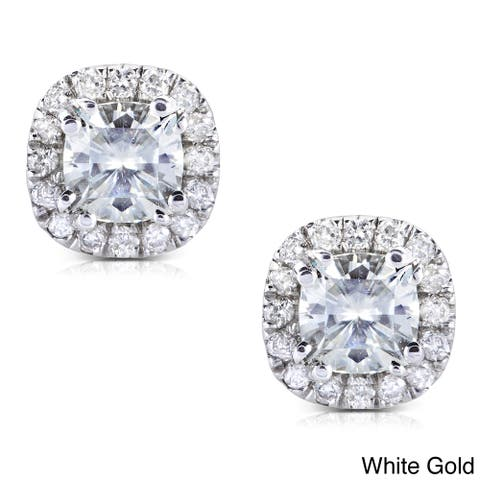 Annello by Kobelli 14k Gold 1 1/5ct TGW Cushion 4.5MM Moissanite (H-I) and Diamond Halo Stud Earrings