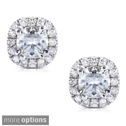 Annello By Kobelli 14k Gold 1 5ct Tgw Cushion 4 5mm Moissanite H I And Diamond Halo Stud Earrings On Free Shipping Today