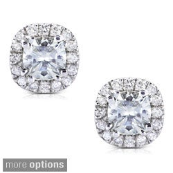 Annello by Kobelli 14k Gold 1 1/5ct TGW Cushion 4.5MM Moissanite (H-I) and Diamond Halo Stud Earrings (3 options available)