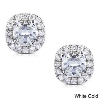 Annello by Kobelli 14k Gold Moissanite and 1/5 ct TDW Halo Diamond Earrings (G-H, I1-I2)