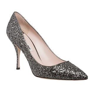 Miu Miu Women's Silver Glitter Pointed-toe Pumps