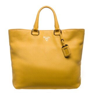 Prada 'Daino' Yellow Pebbled Leather Tote