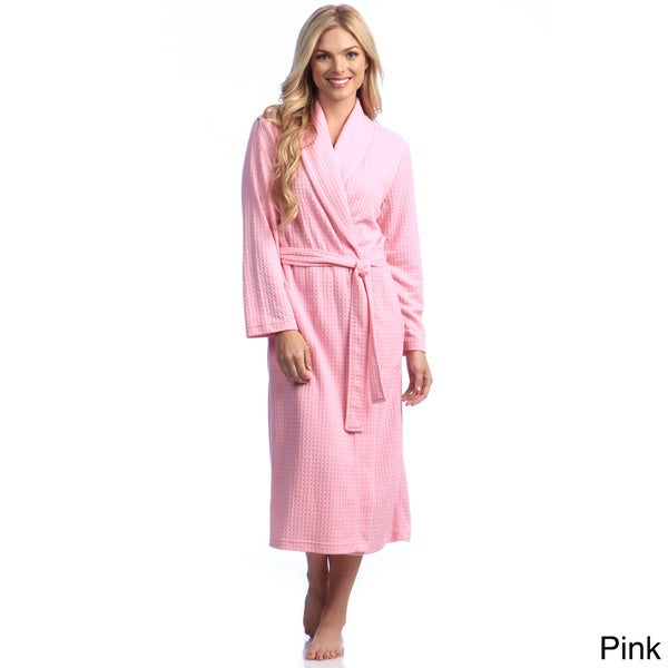 Women's Houndstooth Knit 48-inch Shawl Robe