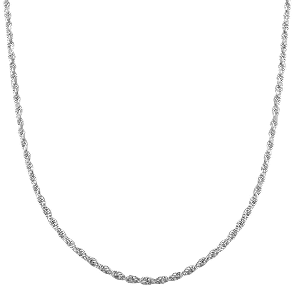 Fremada Rhodium-plated Silver 1.6-mm Diamond-cut Adjustable Rope Chain
