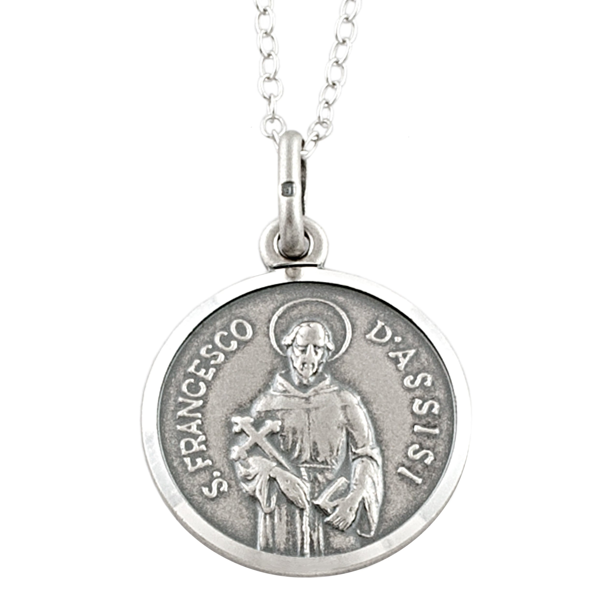 Fremada Sterling Silver 16-mm Round Saint Francis Medal Necklace