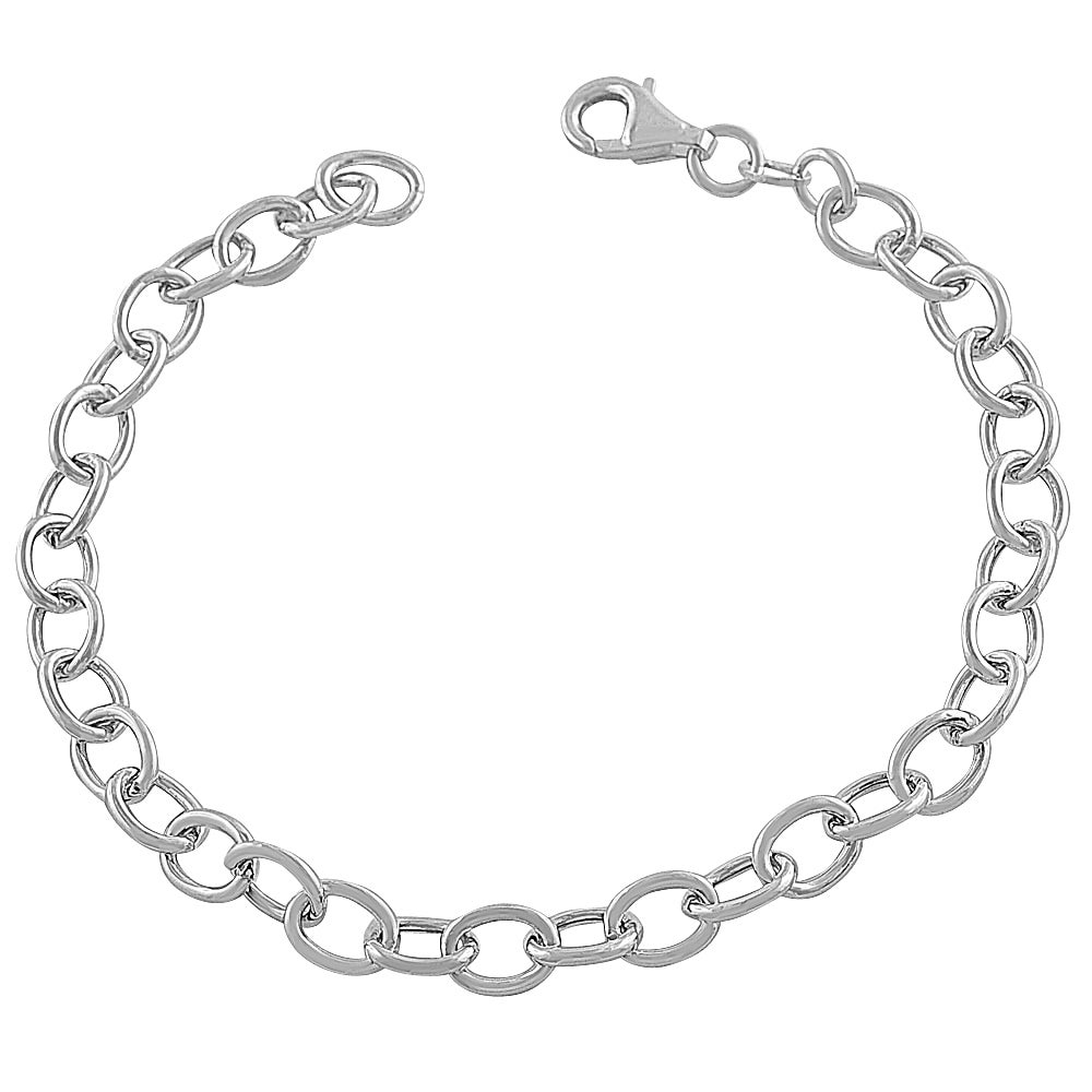 Fremada Rhodium-plated Sterling Silver 4.8-mm Hollow Link Charm Bracelet