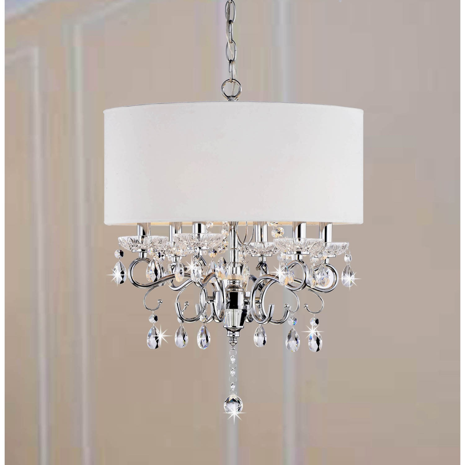 Shop allured crystal chandelier solid white shade free shipping allured crystal chandelier solid white shade aloadofball Gallery