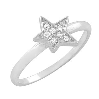 Fremada Rhodium-plated Sterling Silver Cubic Zirconia Star Ring