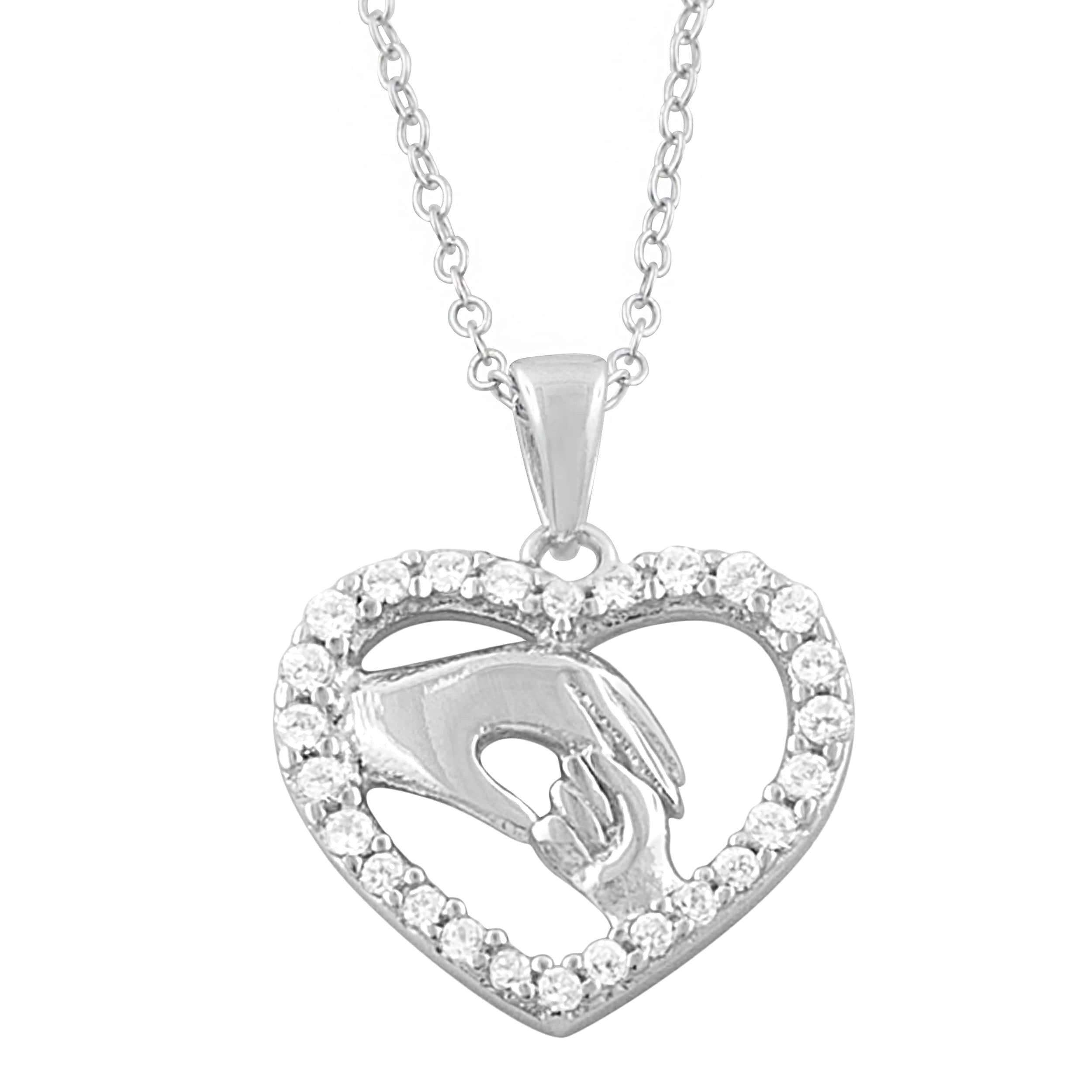 Fremada Rhodium-plated Silver Cubic Zirconia Holding Hands Heart Necklace