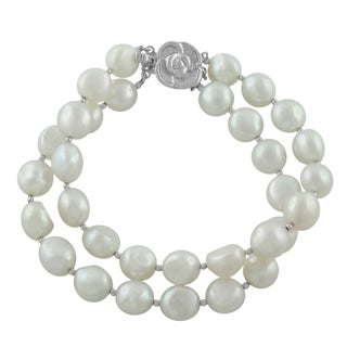 Fremada Rhodium-plated Silver FW Pearl Double Strand Bracelet (9-10 mm)
