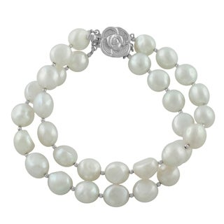 Fremada Rhodium-plated Silver FW Pearl Double Strand Bracelet (9-9.5 mm)