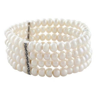 Fremada Rhodium Plated Sterling Silver White Freshwater Pearl Stretch Bracelet (6-7 mm)