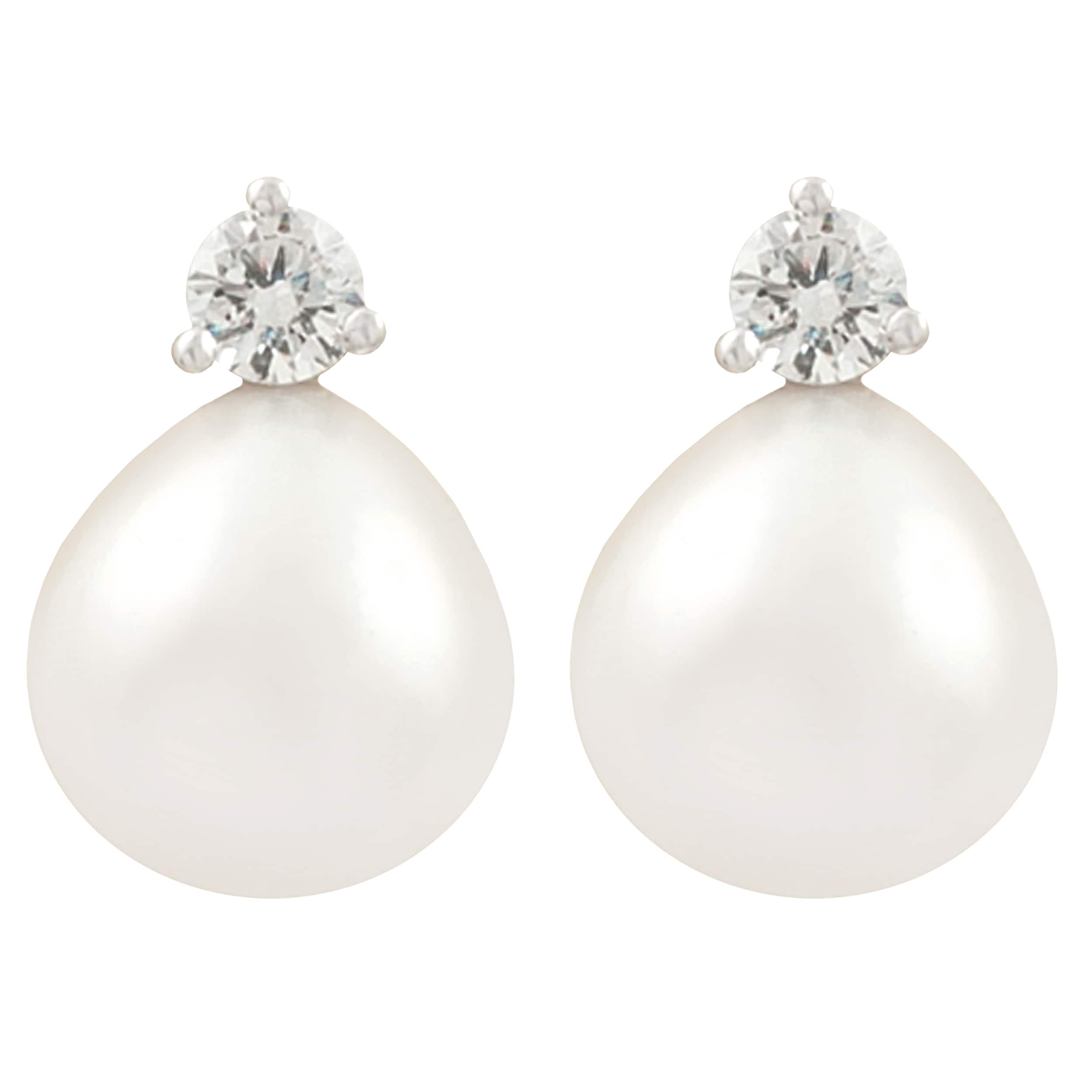 Fremada Rhodium-plated Silver FW Pearl and CZ Stud Earrings (9-10 mm)
