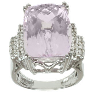 Michael Valitutti 14k White Gold Kunzite and Round Diamond Ring