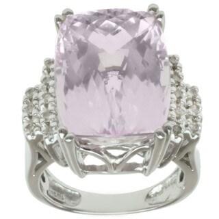 Michael Valitutti 14k White Gold Kunzite and Round Diamond Ring