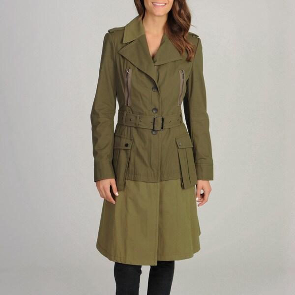 BCBGMaxazria Women's Mixed Media Trench Coat