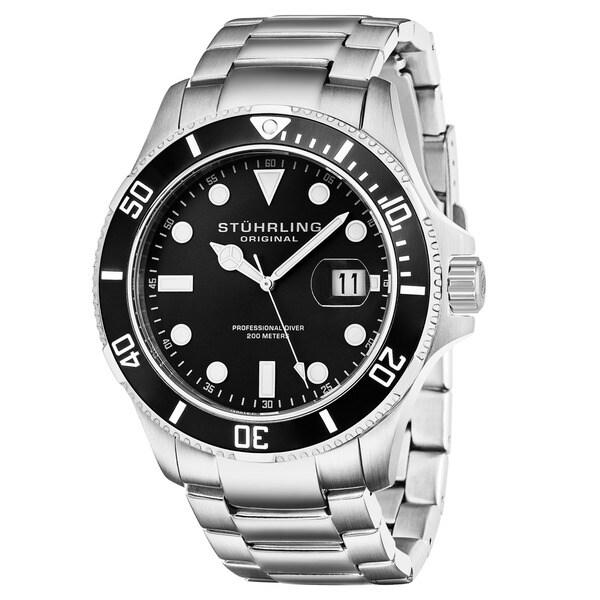 Stuhrling Original Men's Regatta Espora Swiss Quartz Divers Bracelet Watch - silver