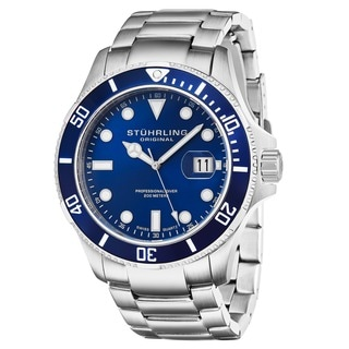 Stuhrling Original Men's Regatta Espora Swiss Quartz Blue Divers Bracelet Watch