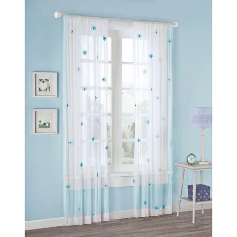 Mi Zone Taylor Flower Sheer Tailored Single Curtain Panel