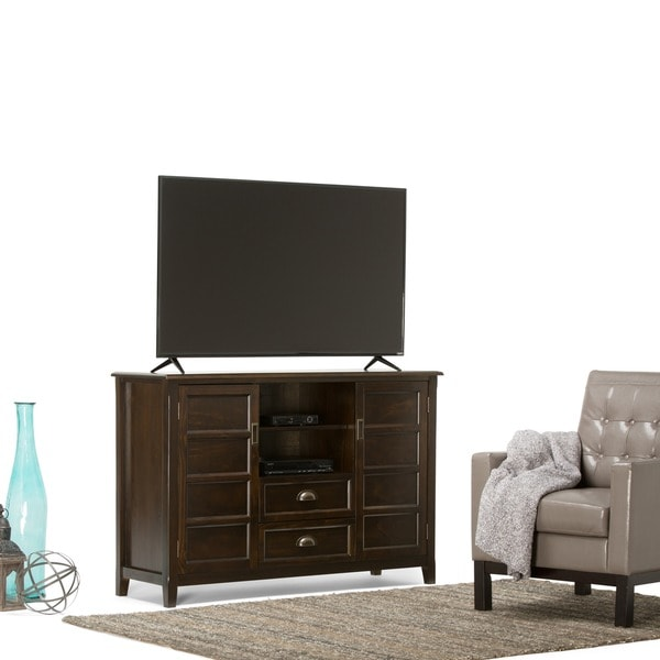 wyndenhall portland collection espresso brown tall tv stand for tvu0026x27s up to