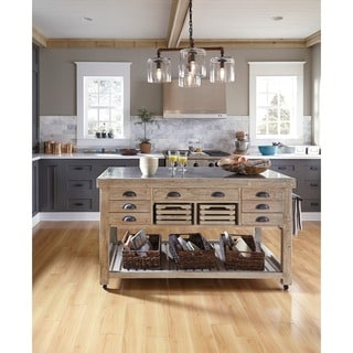 Kosas Home Deni Washed Grey Blue Stone and Reclaimed Pine Kitchen Island