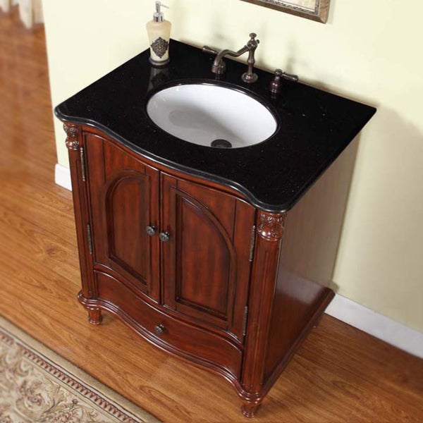 Stone Vanity Sinks : 30-inch Black Galaxy Granite Stone Top Bathroom Single Sink Vanity ...