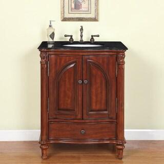 30-inch Black Galaxy Granite Stone Top Bathroom Single Sink Vanity
