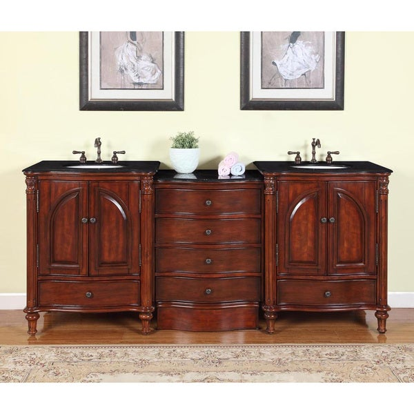 83 Inch Black Galaxy Granite Stone Top Bathroom Double Sink Modular Vanity Free Shipping Today