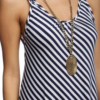 White Mark Women's 'Juliette' Backless Striped Maxi Dress