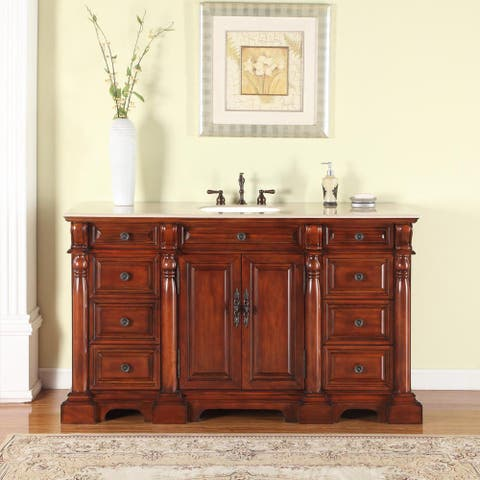 Silkroad Excluisve 62-inch Natural Stone Countertop Bathroom Single Sink Vanity