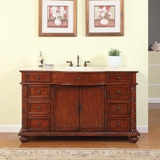 Silkroad Exclusive 60-inch Natural Stone Countertop Bathroom Single Sink Vanity
