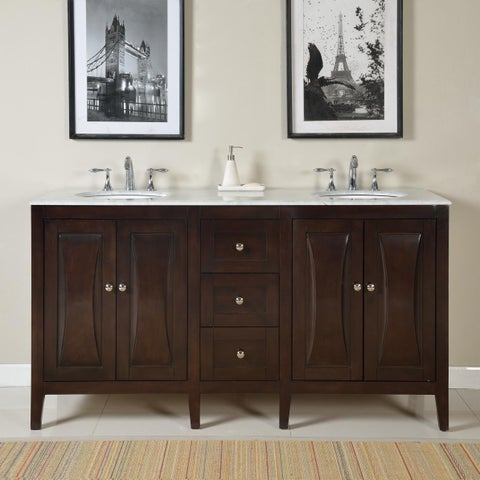 Silkroad Exclusive 68-inch Carrara White Marble Stone Top Bathroom Double Sink Vanity
