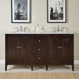 bathroom vanity with cabinet on top. Silkroad Exclusive 68 inch Carrara White Marble Stone Top Bathroom Double  Sink Vanity 61 70 Inches Vanities Cabinets For Less
