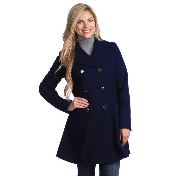Anne Klein Women's Sapphire Blue Double Breasted Wool Coat