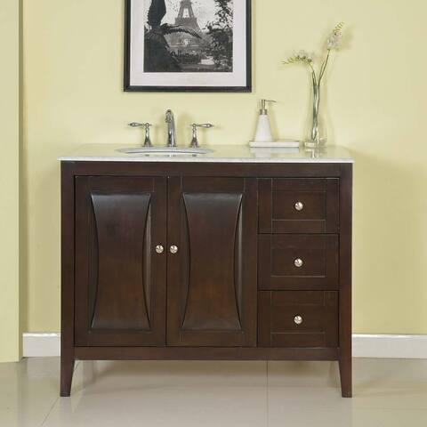 Silkroad Exclusive 45-inch Carrara White Marble Top Bathroom Off-Center Single Sink Vanity