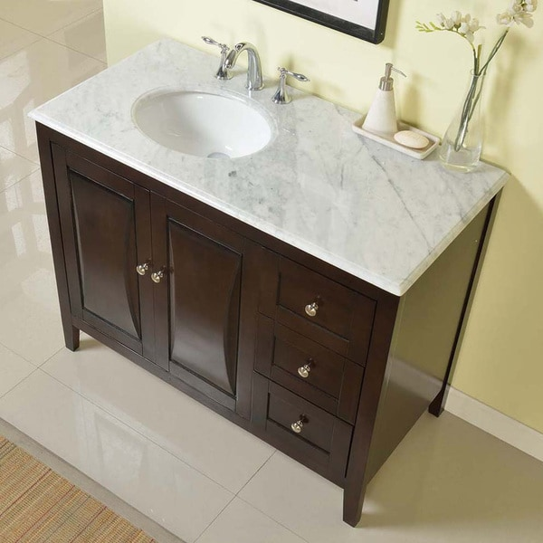 off center sink bathroom vanity silkroad exclusive 45 inch carrara white marble top 23873