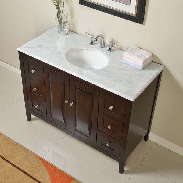 Silkroad exclusive 48 inch carrara white marble stone top - 48 inch white bathroom vanity with top ...