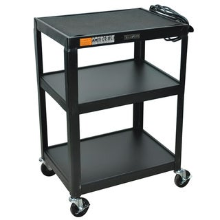 Steel 34-inch Fixed Height AV Cart (3 Shelves) AV34