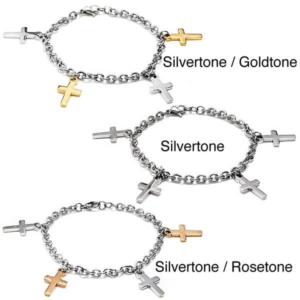 Shop ELYA Two-tone Stainless Steel Dangling Cross Charm